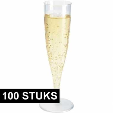 100x champagne glazen transparant 19 cm