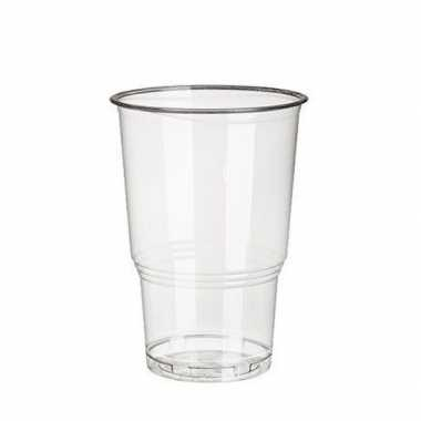 100x pla transparante frisdrank/bier drinkbekers 250 ml