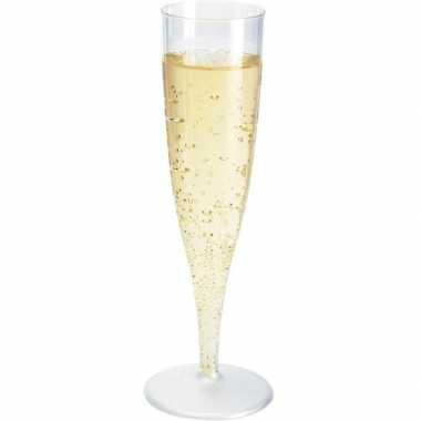 10x champagne glazen transparant 19 cm
