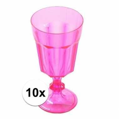 10x plastic wijnglas roze 15 cm