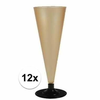 12 x champagne glazen goudkleurig