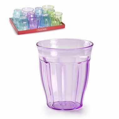 12x kunststof drinkglazen gekleurd 250 ml