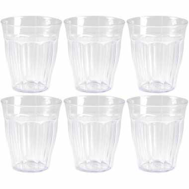 12x kunststof drinkglazen/waterglazen picardie transparant 250 ml