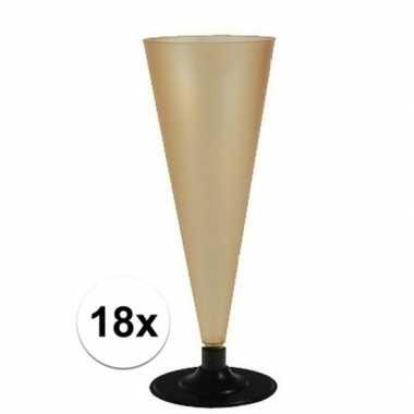 18 x champagne glazen goudkleurig
