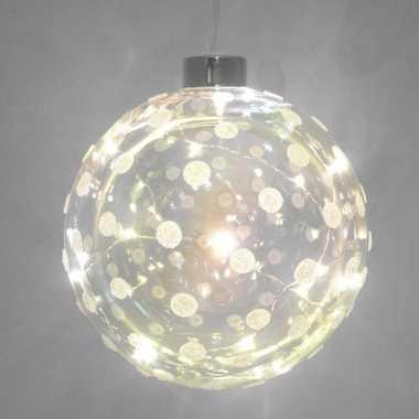 1x glazen decoratie kerstballen met 20 led lampjes verlichting 12 cm