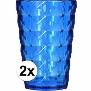 2 drink bekers plastic blauw 350 ml