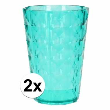 2 drink bekers plastic groen 350 ml