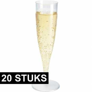 20x champagne glazen transparant 19 cm