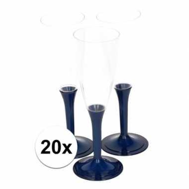 20x donkerblauwe wijnglazen