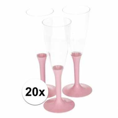 20x roze wijnglazen