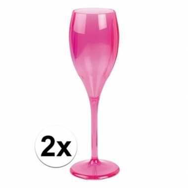 2x champagne glazen neon fuchsia plastic