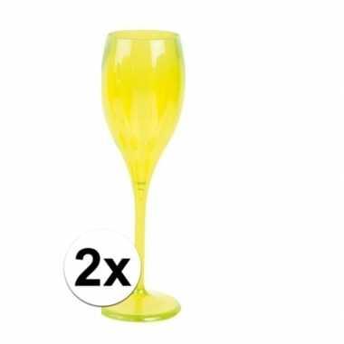 2x champagne glazen neon geel plastic