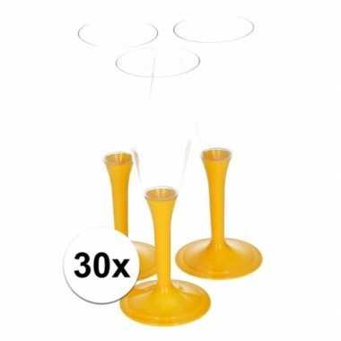 30x gele wijnglazen
