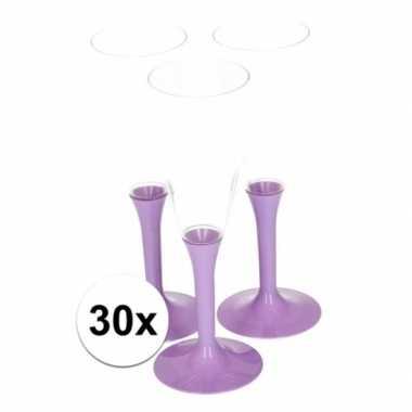 30x lila paarse wijnglazen