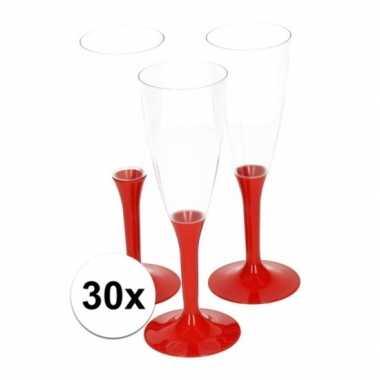 30x plastic rode wijnglazen