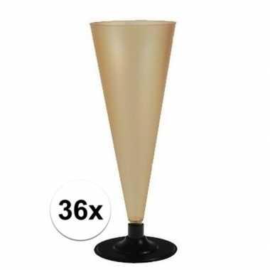 36 x champagne glazen goudkleurig