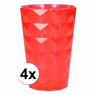 4 drink bekers plastic rood 350 ml