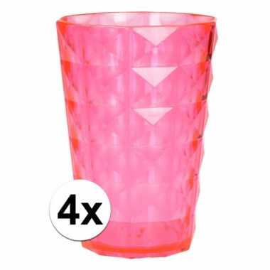 4 drink bekers plastic roze 350 ml
