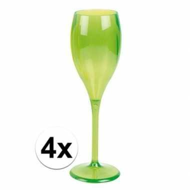 4x champagne glazen neon groen plastic