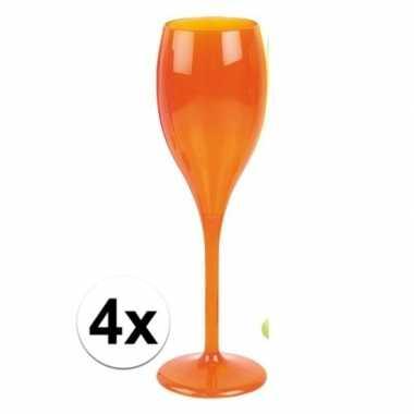 4x champagne glazen neon oranje plastic