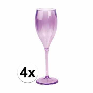 4x champagne glazen neon paars plastic