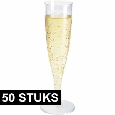 50x champagne glazen transparant 19 cm