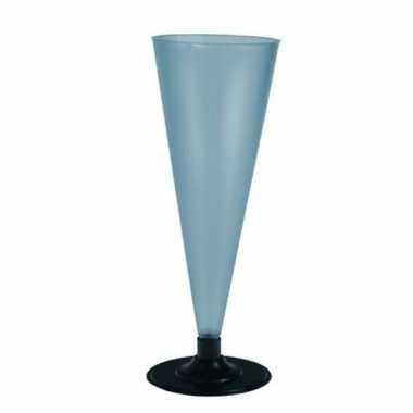 6x champagne glazen blauw