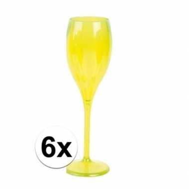 6x champagne glazen neon geel plastic