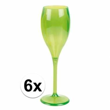 6x champagne glazen neon groen plastic