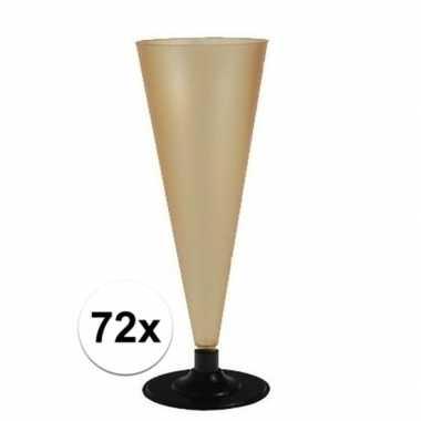 72 x champagne glazen goudkleurig