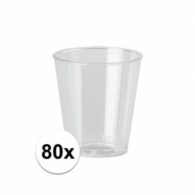 80x plastic transparante shotglazen