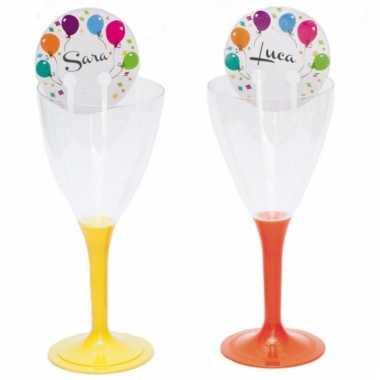 Ballonnen naamkaartjes voor aan glazen