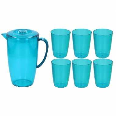 Blauwe plastic schenkkan/waterkan set 2 liter met 6 glazen