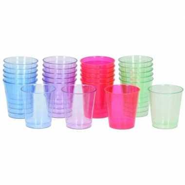 Plastic bekertjes weggooiservies 128 stuks
