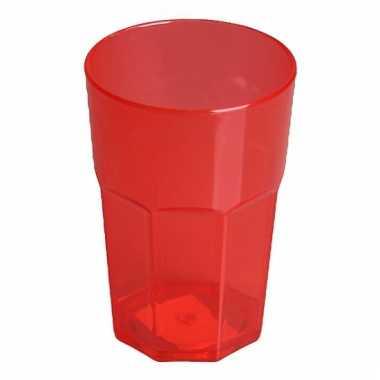 Plastic glas rood 12 cm