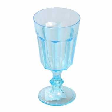 Plastic wijnglas blauw 15 cm