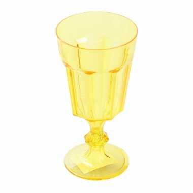 Plastic wijnglas geel 15 cm