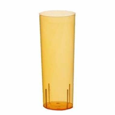 Tien oranje plastic glazen