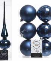 Kerstboom decoratie blauw piek en 6x kerstballen 8 cm